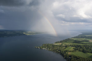 Rainbow over Cayuga Lake photo by William Hecht