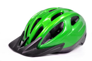 Green Bicycle Cross Country Plastic Helmet Isolated On White