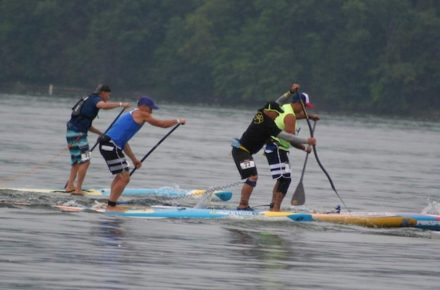Five Paddleboarders on Cayuga Lake Photo by Elton Closs