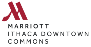 Ithaca Marriott Logo Large Stylized M reddish color with the word Marriot Ithaca Downtown Commons below the M