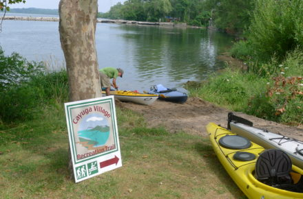 John Harris Park Paddlecraft Launch Area Paddlers landed at the launch for a rest four kayaks and one kayaker in view