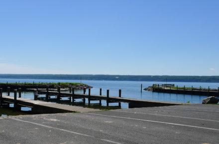 Long Point State Park Boat Launch and basin on a sunny blue sky day