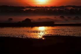 Red and orange sunrise over Knox Marsh at Montezuma Wildlife Refuge